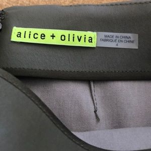 Alice and Olivia green leather mini sz 4